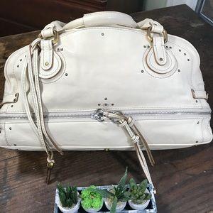Chloé Ivory Pebbled Leather Paddington Satchel Lrg